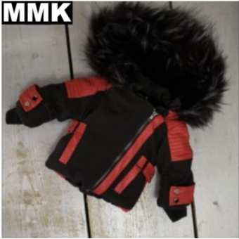 Fake Fur Moto Jacket Black/Red