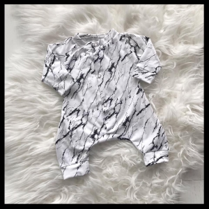 Marble white/black Onesie