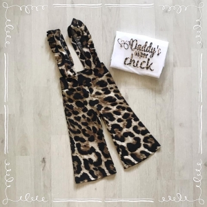 Suspender pants leopard